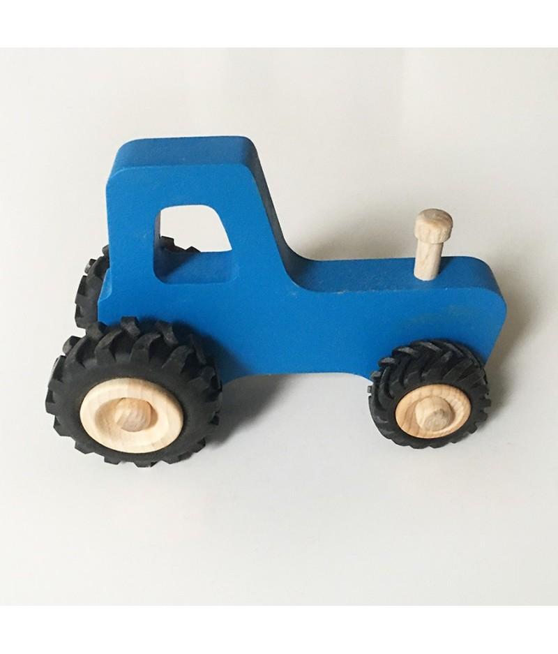 Joli jouet en bois tracteur bleu