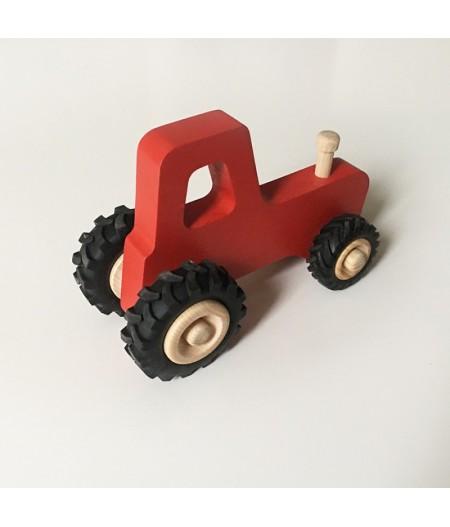 Joli jouet en bois tracteur rouge