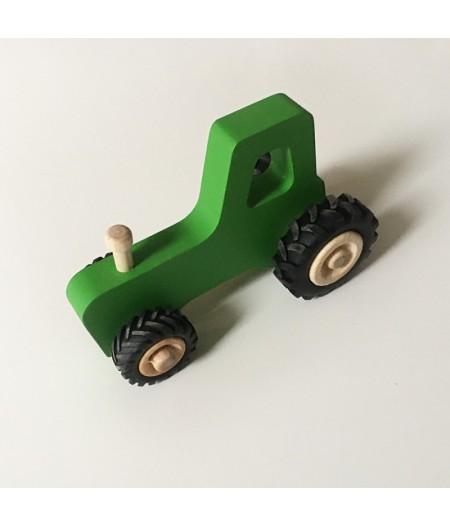 Joli jouet en bois tracteur vert sapin