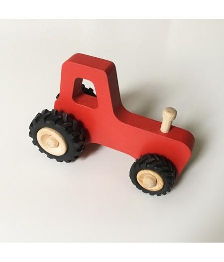 Tracteur en bois rouge made in france