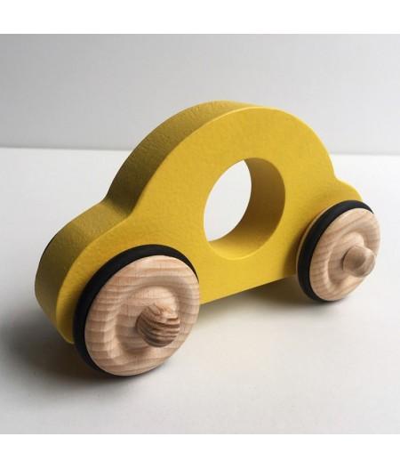 Voiture en bois jaune made in france
