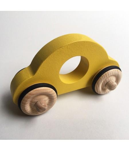Jouet en bois petite voiture jaune