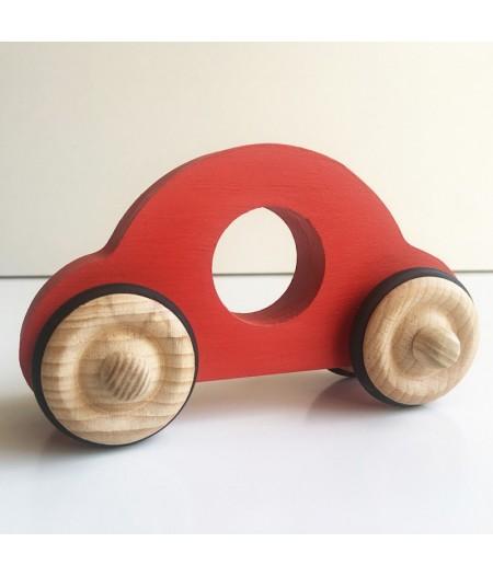 Jouet en bois petite voiture rouge