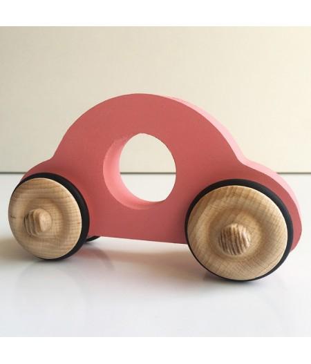 Jouet en bois petite voiture rose