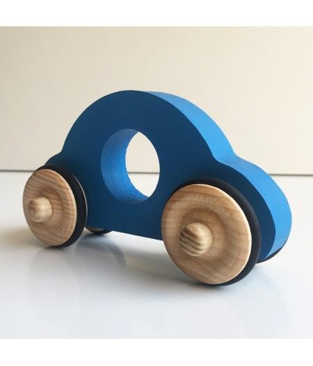 Jouet en bois petite voiture bleue