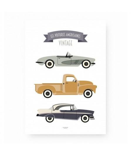 Affiche décorative Les Voitures Américaines Vintage - Saule