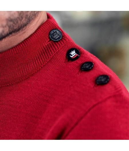 Pull marin uni 100% laine vierge ADRIAN rouge
