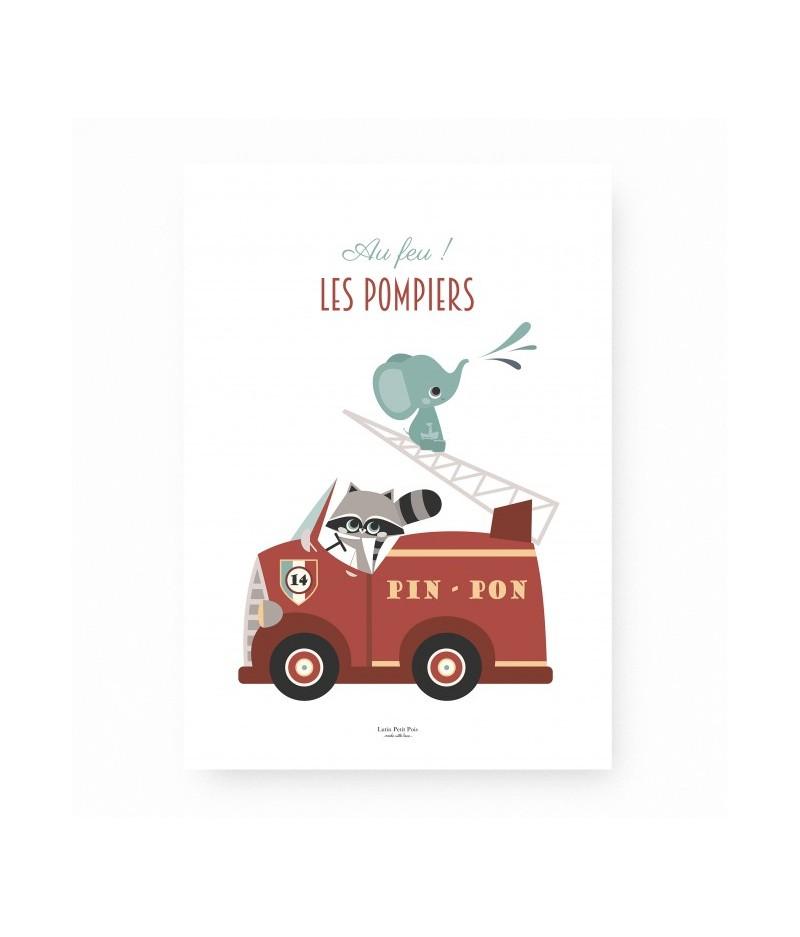 Affiche décorative Au Feu les Pompiers