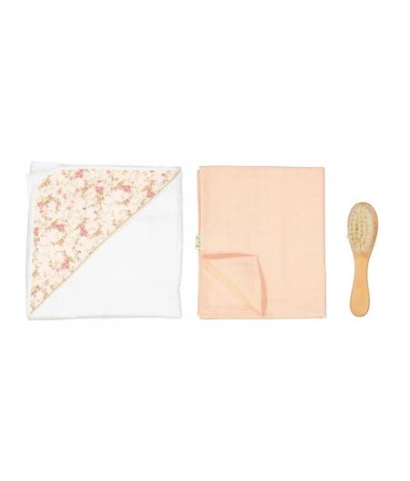 Cape de bain + Langue + brosse bébé rose
