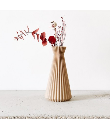Vase origami en bois naturel