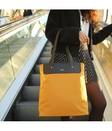 Grand sac en toile safran et noir