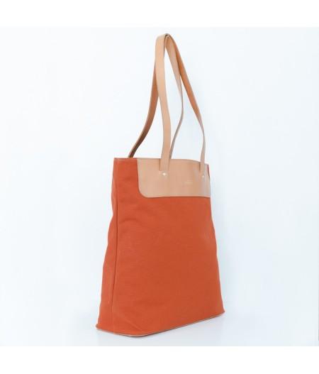 Grand sac en toile brique et cuir naturel