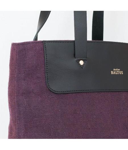 Grand sac en toile lin prune