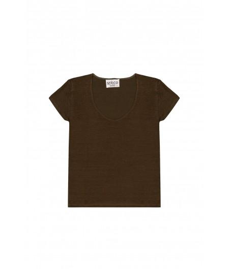 Tee-shirt en lin kaki