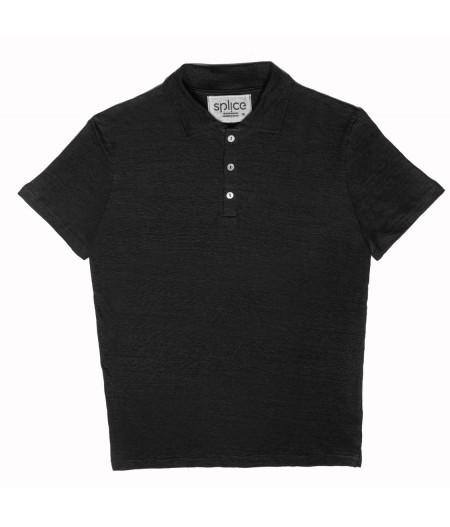 T-shirt tricoté en lin noir