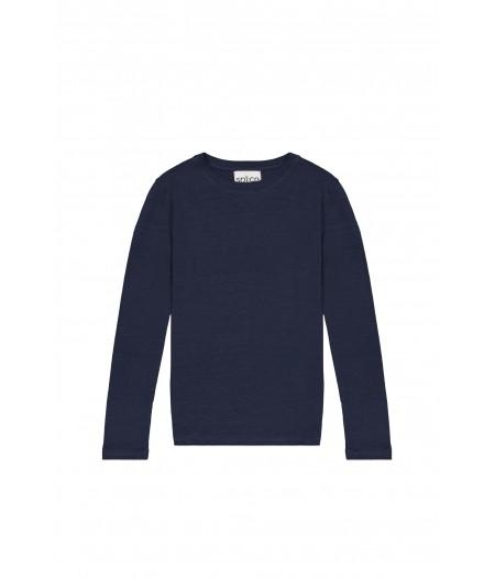 T-shirt tricoté en lin bleu