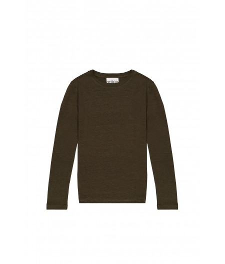 T-shirt tricoté en lin kaki