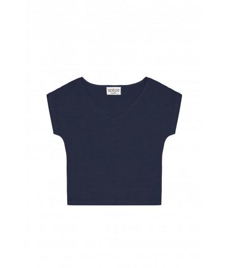 T-shirt en lin femme bleu