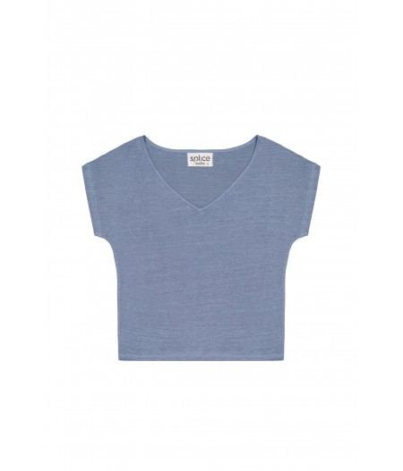 T-shirt en lin femme bleu ciel