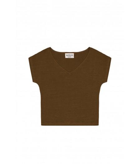 T-shirt en lin femme kaki
