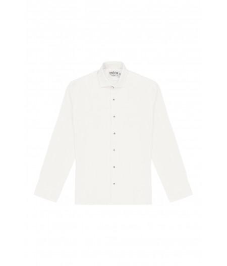 Chemise cintrée en lin blanc