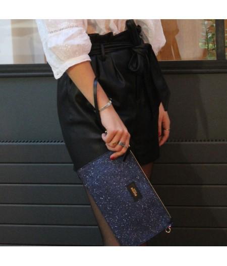 Pochette paillette bleu fait main