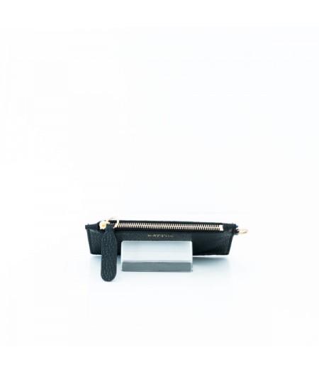 Pochette en cuir noir made in france
