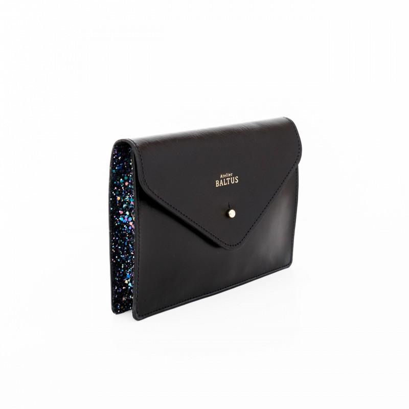 Pochette ceinture en cuir noir et bleu pailleté