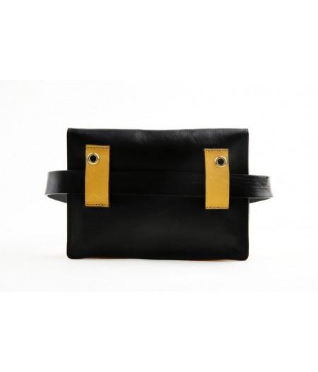 Pochette ceinture en cuir Jaune