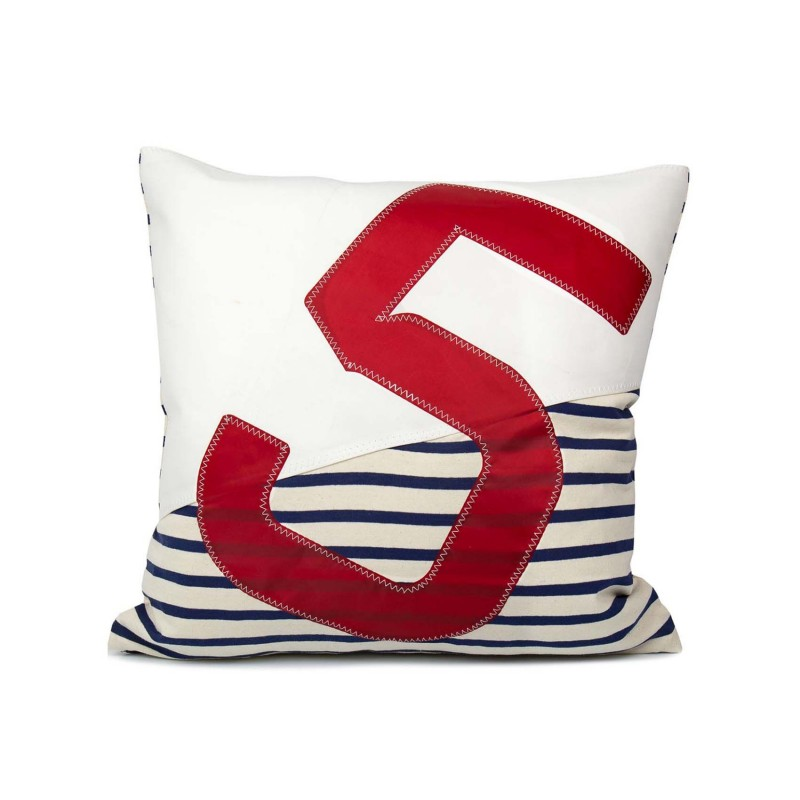 Coussin 50x50 blanc/marinière