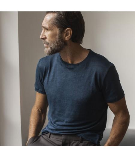 Tee-shirt en lin bio bleu