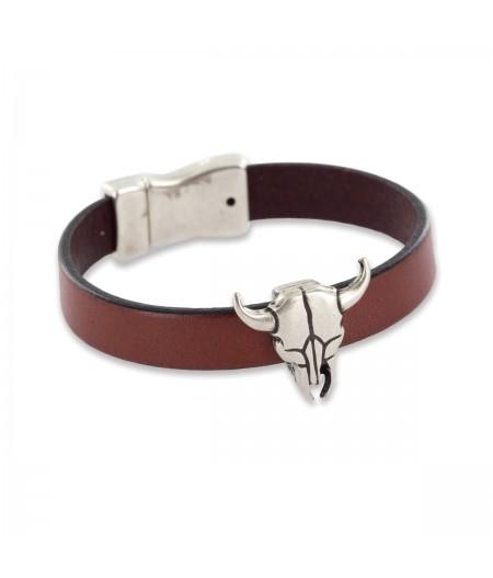 Bracelet en cuir homme motif taureau