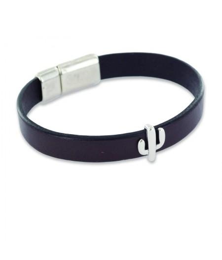 Bracelet en cuir noir homme