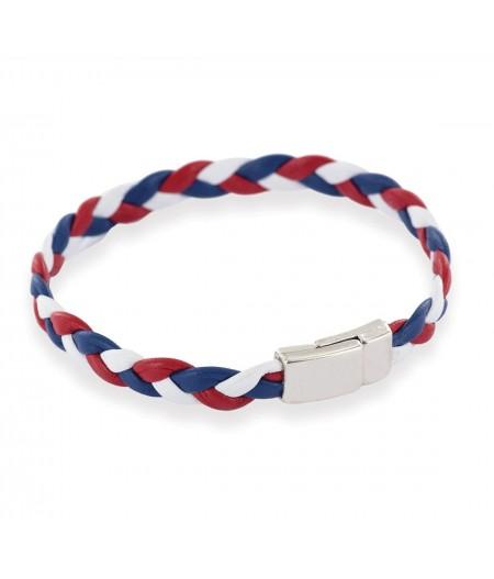 Bracelet tressé tricolore en cuir made in france