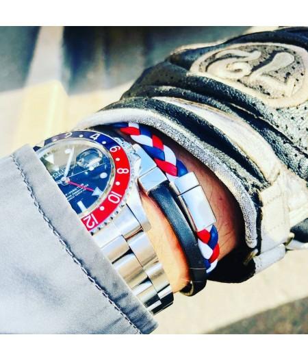 Bracelet tressé tricolore en cuir