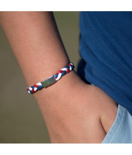 Bracelet tressé en cuir tricolore
