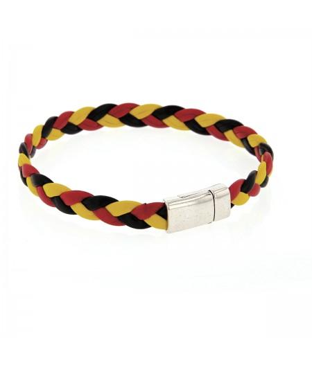 Bracelet tressé tricolore en cuir homme
