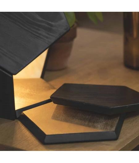 Lampe à poser bois brûlé or