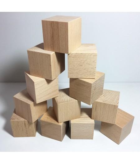 Cube en bois brut en 50mm