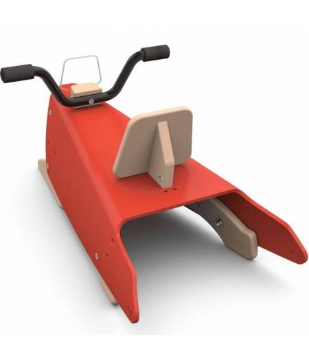 Moto à bascule rouge