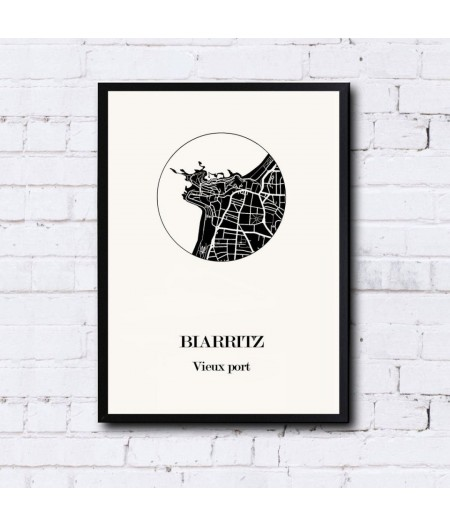 CARTE Design de BIARRITZ pour décoration