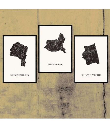 CARTE Design des Vins de BORDEAUX Triptyque