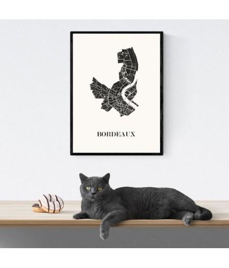 CARTE Design de BORDEAUX pour décoration