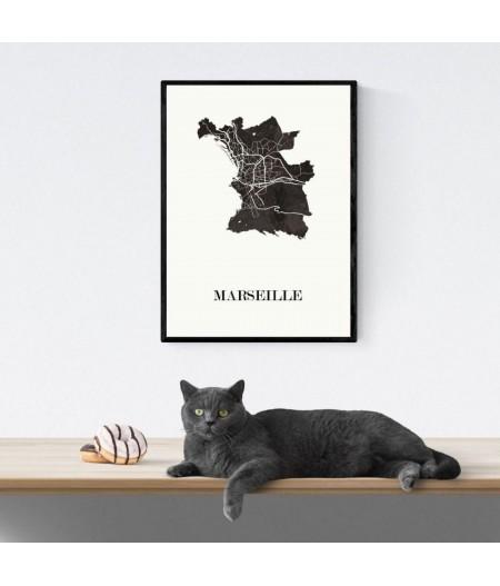 CARTE Design de MARSEILLE pour décoration