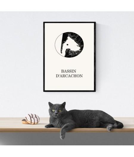 CARTE Design du BASSIN ARCACHON pour décoration