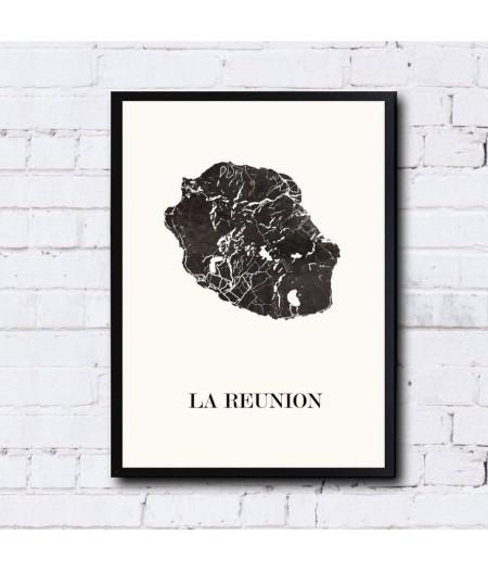 CARTE Design de l'ILE de la REUNION pour décoration