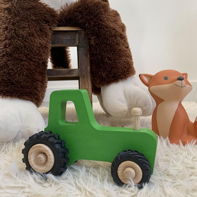 Tracteur en bois vert made in france