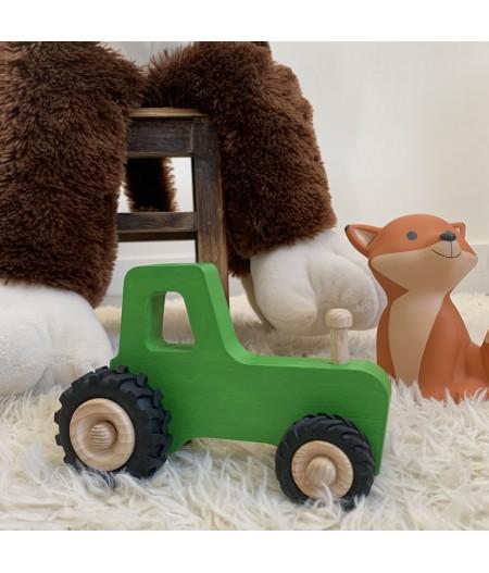 Tracteur en bois bleu jouet enfant