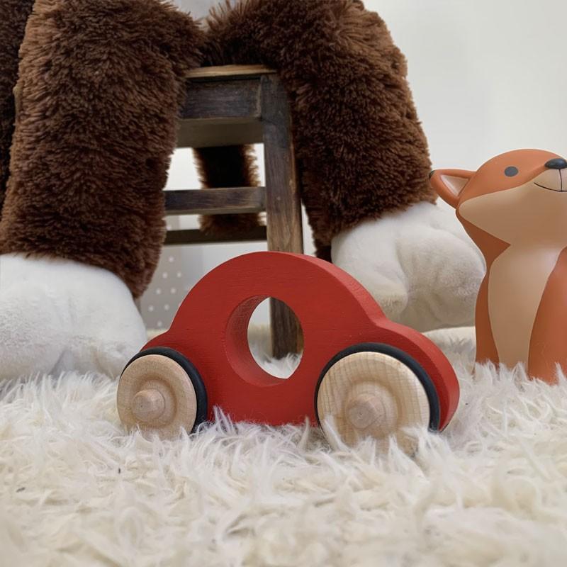 Tracteur en bois rouge jouet enfant