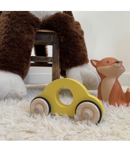 Tracteur en bois jaune jouet enfant